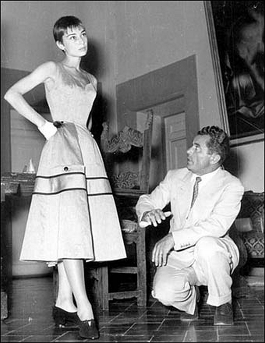 Audrey Hepburn at a shoe fitting with Salvatore Ferragamo